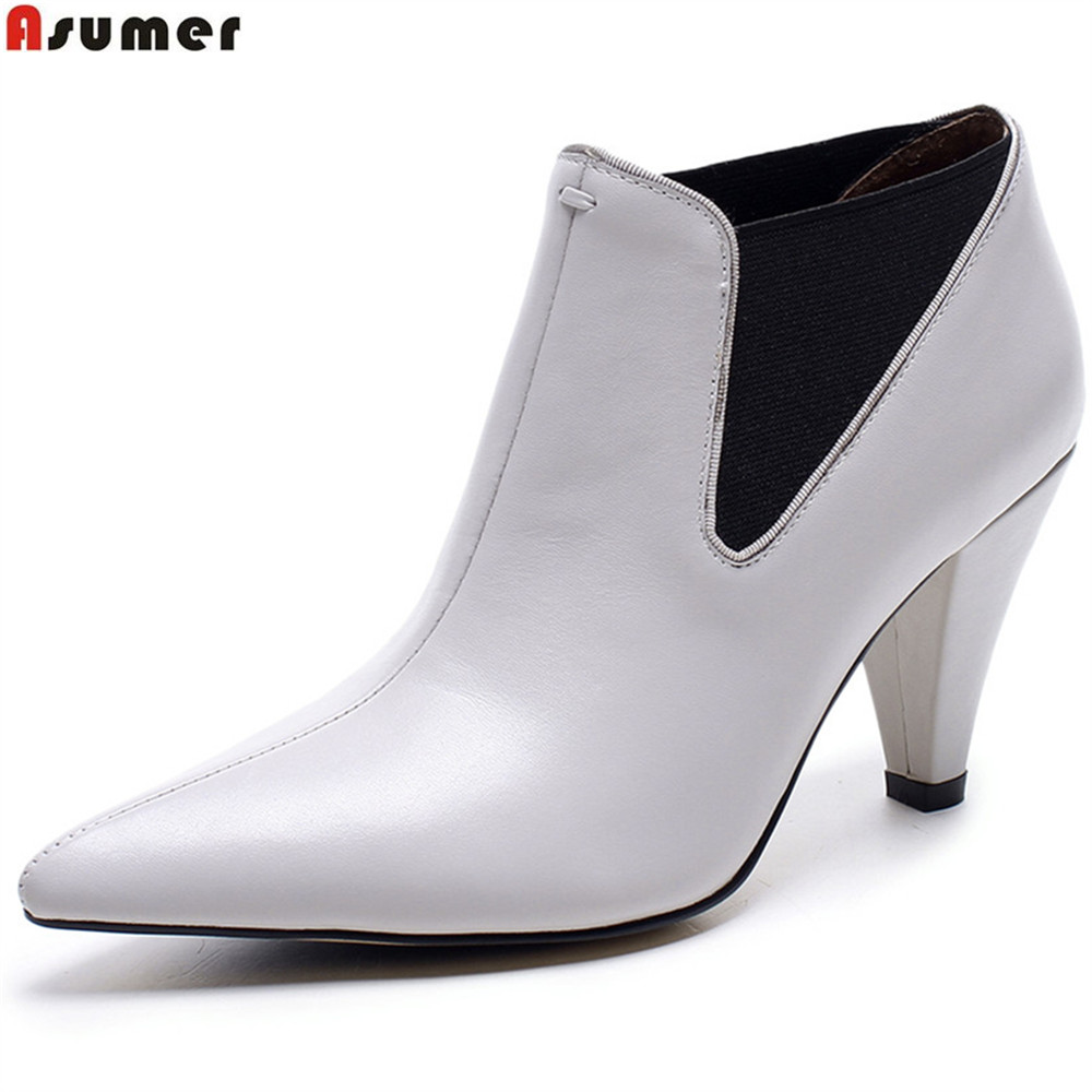 ASUMER pointed toe fashion women boots genuine leather boots black light gray spring autumn cow leather ankle boots czrbt genuine leather boots women fashion pointed toe thick heel high heel boots spring autumn cow leather women chelsea boots
