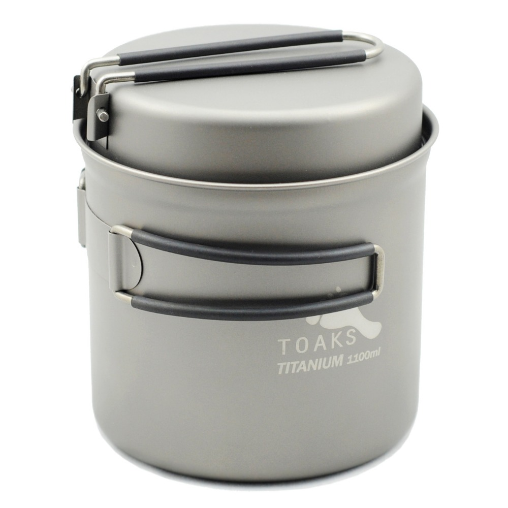 TOAKS 1100 ml Pentolame e Utensili per cucinare Set Ultraleggero In Titanio Pentola Padella Outdoor Ciotola Tazza di Titanio di Titanio di Campeggio di Picnic