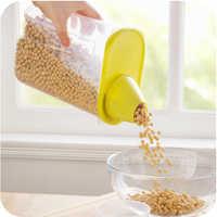 Vanzlife-tapa de plástico de grado alimenticio, recipiente sellado y afilado, ovalado, transparente, para almacenamiento de granos, depósito de cocina, tarro de especias