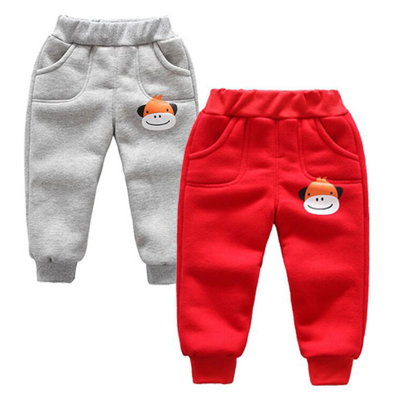 Winter baby warm cotton pants for boys and girls sport pants kids child plus velvet thickening pants children trousers (4)