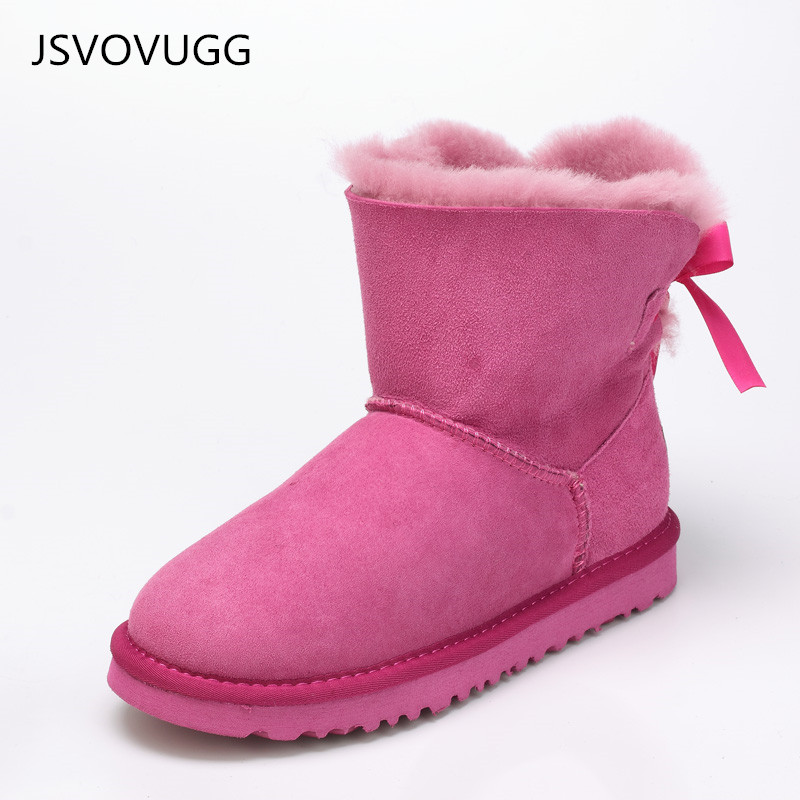 Wholesale High quality waterproof leather boots real fur 100%wool short bowknot sheepskin snow boots winter warm shoes for Women 2016 australia fashion high quality waterproof genuine sheepskin leather snow boots real fur 100% wool women winter snow boots