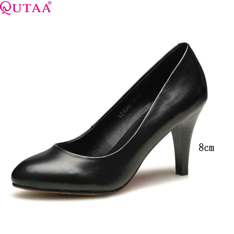 цены QUTAA 2018 Women Pumps Low/Med/High Heel Platform Genuine Leather Black Elegant Ladies Wedding Shoes 6/7/8 cm Size 34-42
