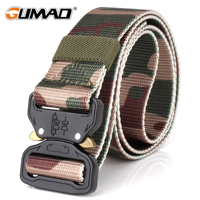 Camo Men Heavy Duty Tactical Combat Belt Airsoft Hunting Military Police Patrol Metal Buckle Safety Waist Straps Swat Waistband