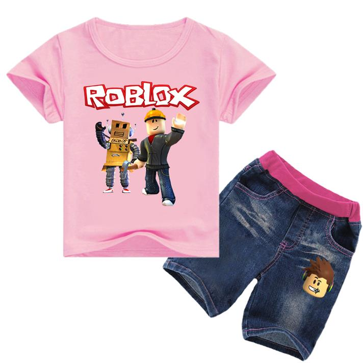 2019 Soft Cute Roblox Game T Shirt Tops+Denim Shorts Fashion New Teenagers  Kids Outfits Girl Clothing Set Jeans Children Clothes From Zlf999, &Price