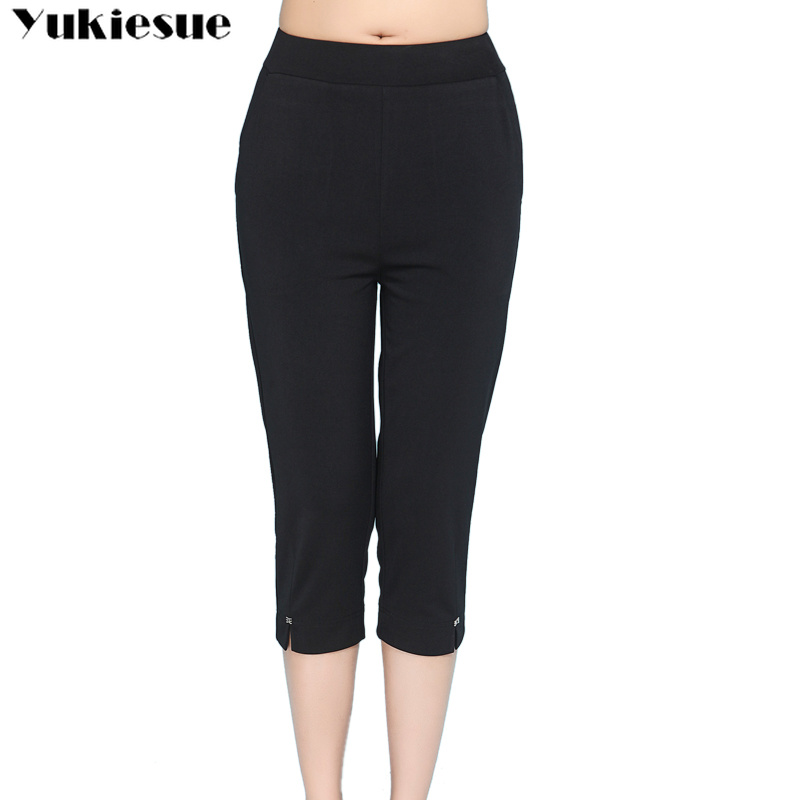 summer skinny stretch women's   pants     capris   high waisted pencil   pants   for women trousers woman   pants   female black Plus size 6XL