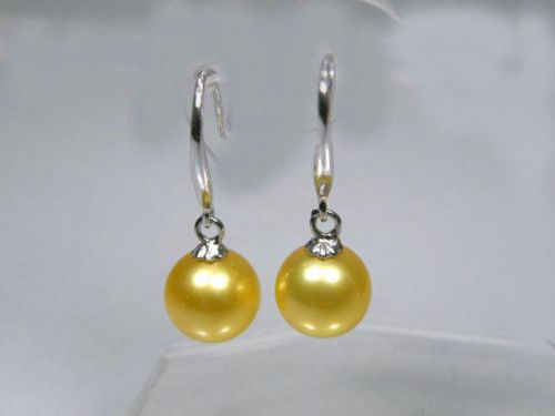 women Fashion Jewelry hot AAA+ 9-10mm genuine yellow south sea pearl dangle earring  white hook