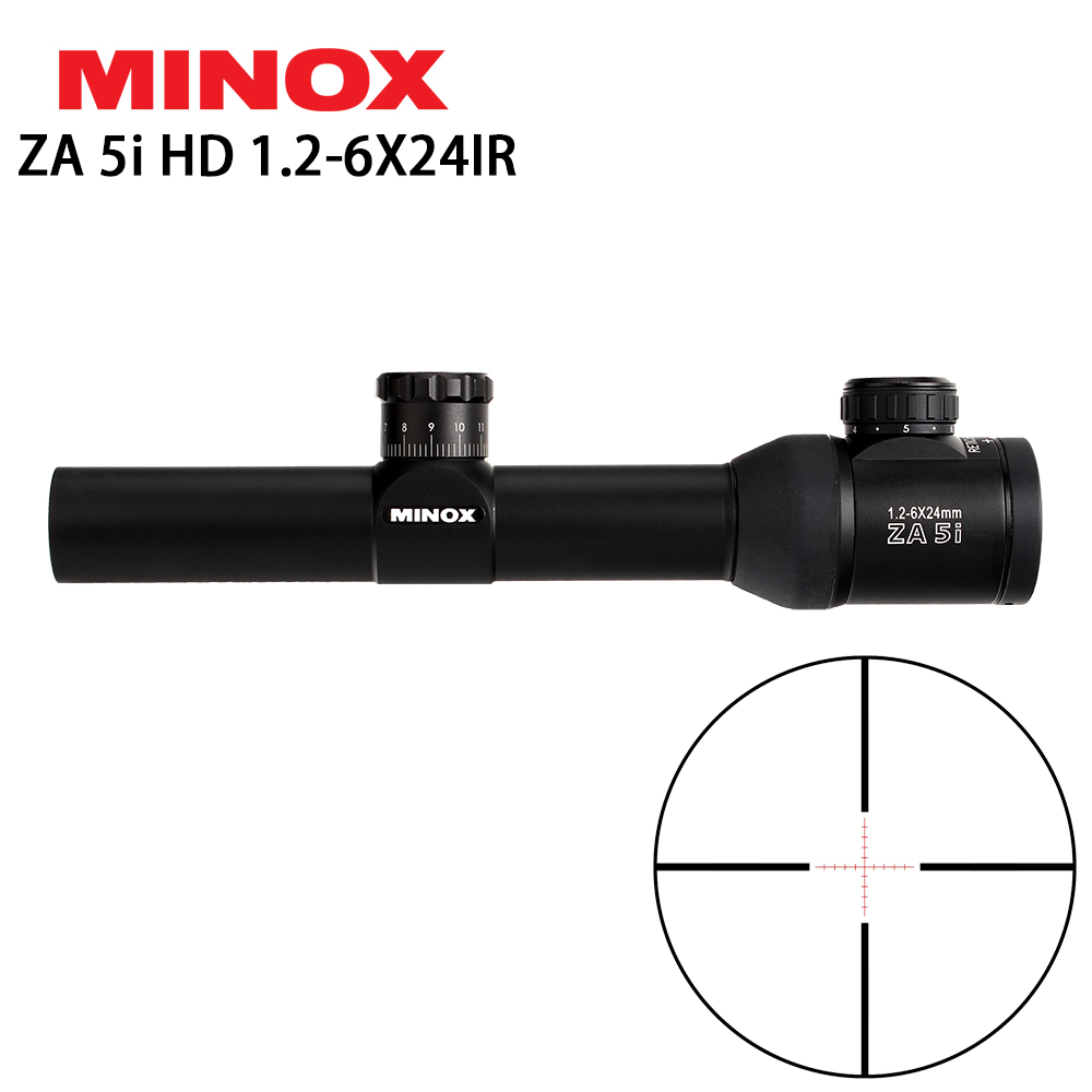 MINOX ZA 5i HD 1.2-6X24 IR Compact Hunting Rifle Scope Glass Etched Illuminated Reticle Long Eye Relief Sight RifleScopes бинокль minox bl 8x52 hd