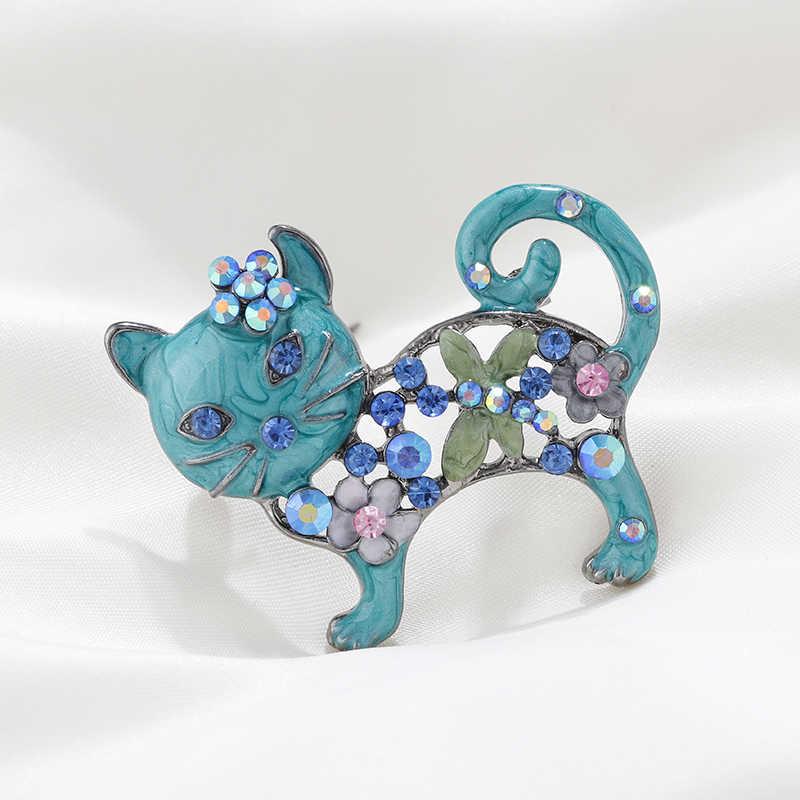 Flashbuy Colore Strass Cute Cat Spille per Le Donne di Trasporto Libero Animale Femmina Dei Monili Dello Smalto Spille Gioelleria Raffinata E Alla Moda Decorazione