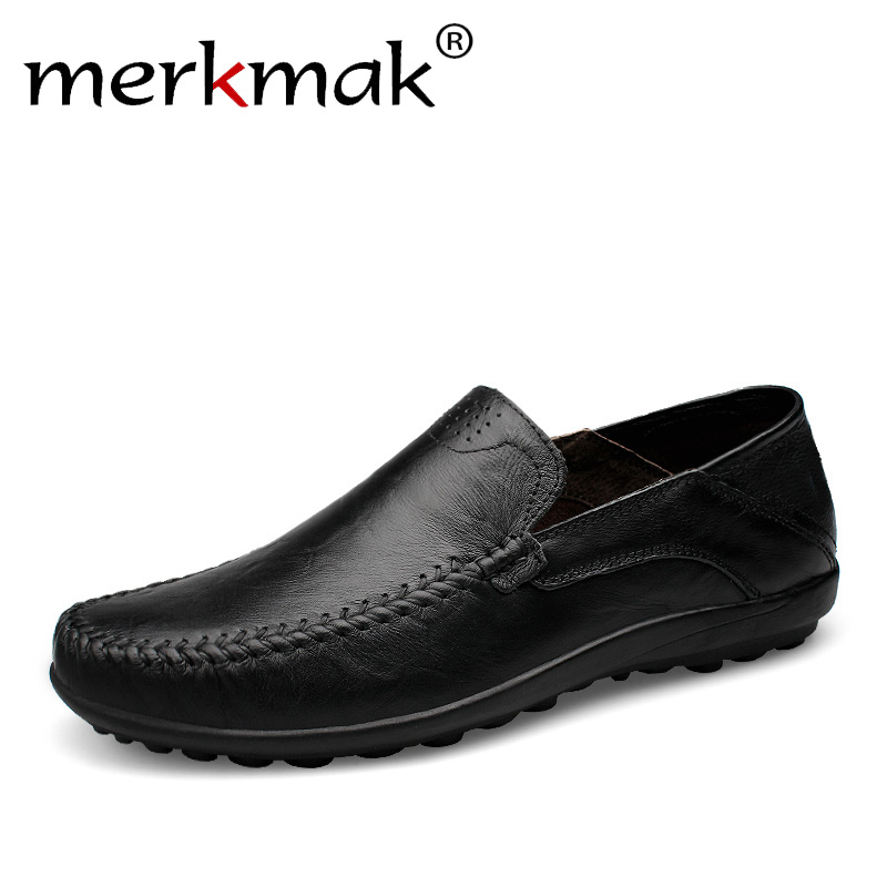 Merkmak Handmade Men Loafers Flats Shoes Plus Size Genuine Leather Mens Shoes Breathable Soft Loafers Moccasins Zapatos Hombre