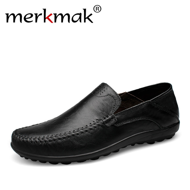 Merkmak Hecho A Mano Hombres Holgazanes Zapatos de Los Planos Más El Tamaño de Cuero Genuino Hombres Zapatos Respirables Suaves Mocasines Mocasines Zapatos Hombre