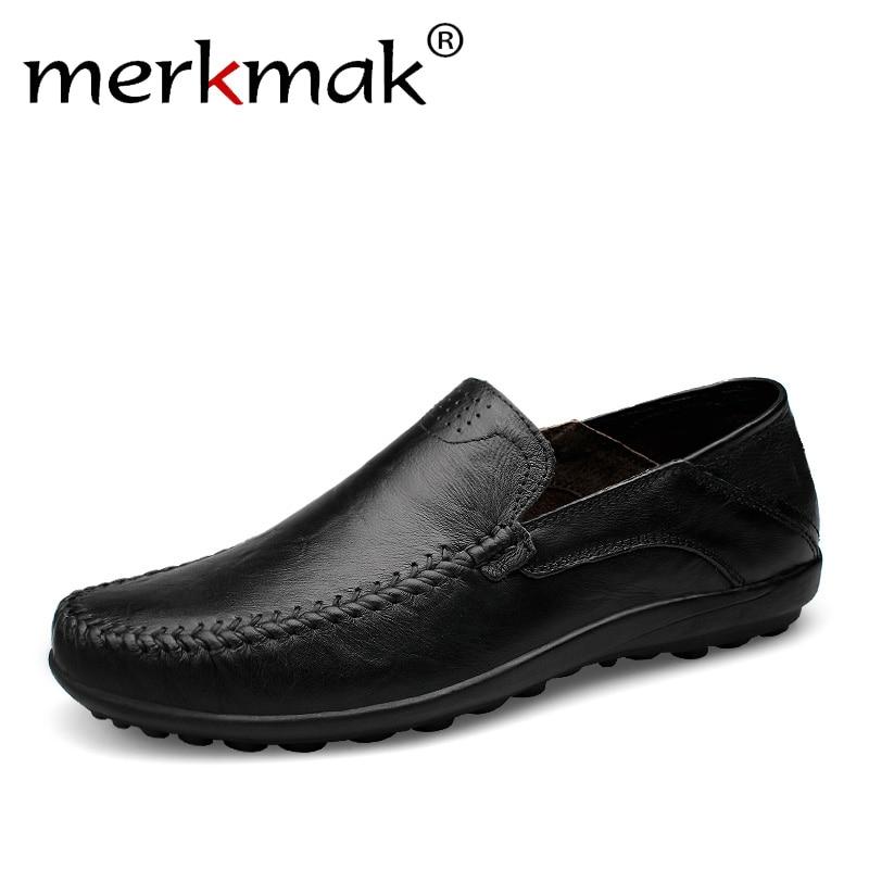 Merkmak Main Hommes Mocassins Appartements Chaussures Plus La Taille En Cuir Véritable Hommes Chaussures Respirant Doux Mocassins Mocassins Zapatos Hombre