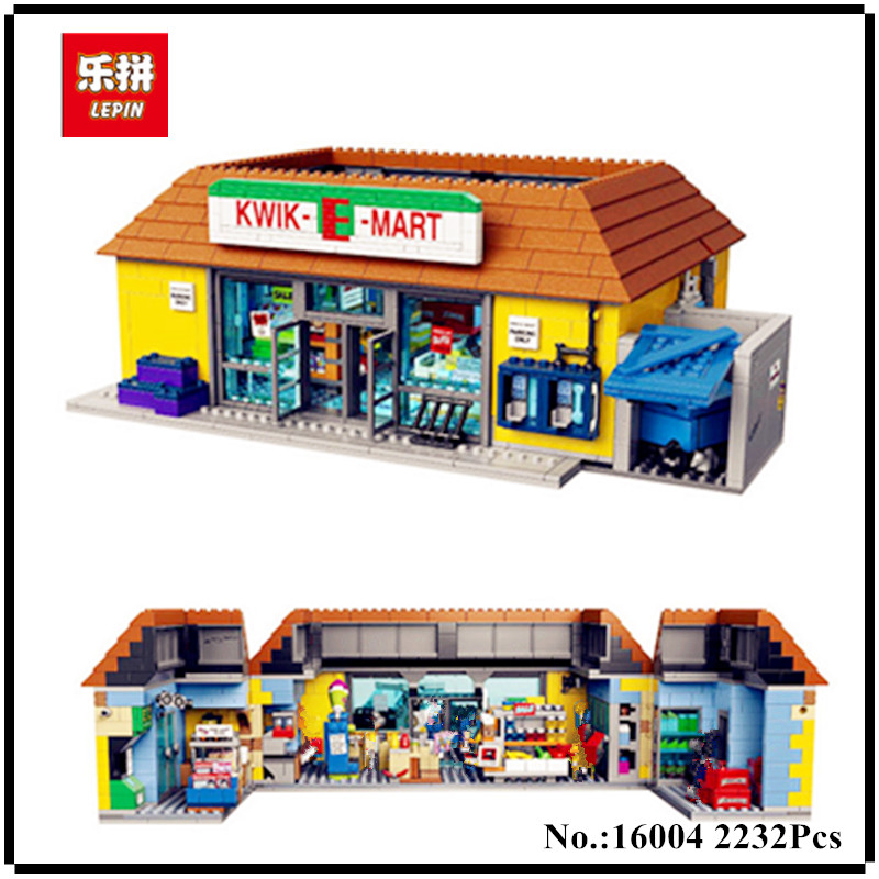 IN STOCK Lepin 16004 2232Pcs The Simpsons Bart Homer the Kwik-E-Mart Action Figures Model Building Block Bricks Compatible 71016