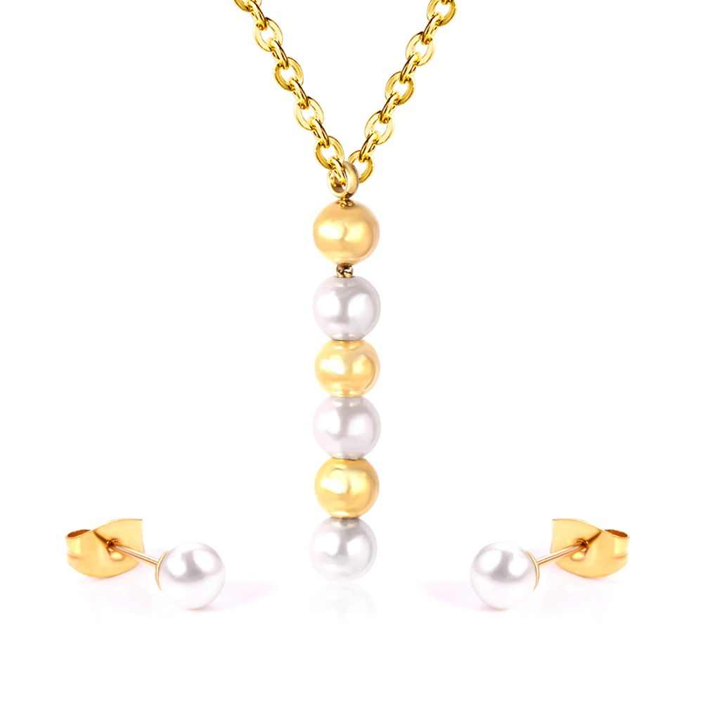 LUXUKISSKIDS Trendy Stainless Steel Jewelry Sets With Pearl Women party Jewelry Sets Wedding Gift