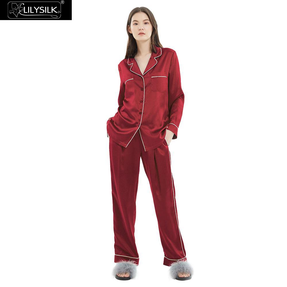 LilySilk 100 Silk Pajamas Set Gold Piping Silk Women Full Length 22 momme Mulberry Free ShippingPajama Sets   -