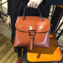 Women 2019 new fashion leather women's hands waxed leather slung shoulder  women's small bag such small hands