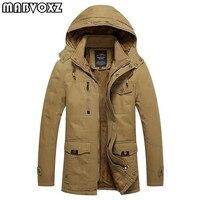 Winter Jackets Mens 100% Cotton Slim Fit Snow Parkas Warm Thick New fashion 2018 Men Coats Military Jacket