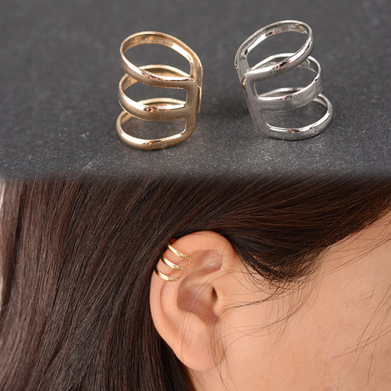 Fashion Punk Rock Ear Clip Cuff Wrap Earrings No Piercing-Clip On Silver Gold Earring