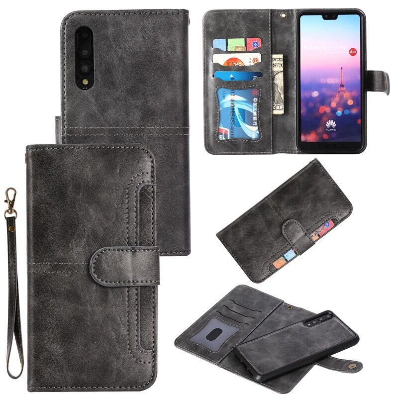 <font><b>2</b></font> in <font><b>1</b></font> Magnetic Wallet Case For Huawei P30 Pro P20 Lite Nova 3e PU Leather Phone Cover For Huawei Mate 20 Lite 20 Pro Case EEMIA image