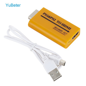 YuBeter For PS1/PS2 to HDMI Adapter Converter Up to1080p Output For Monitor Projector Convert Video/Audio for Game Plug and Play