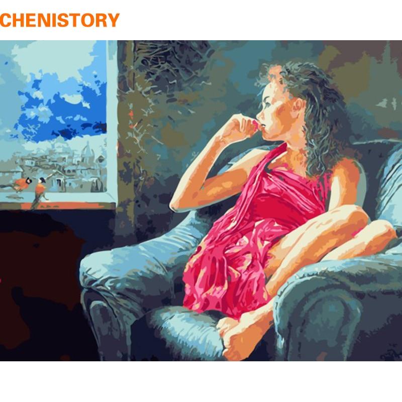 CHENISTORY Pensée Femmes DIY Peinture Par Numéros Moderne Mur Art Peint À La Main Peinture À L'huile Sur Toile Pour Cadeau Unique Artowrk 40x50
