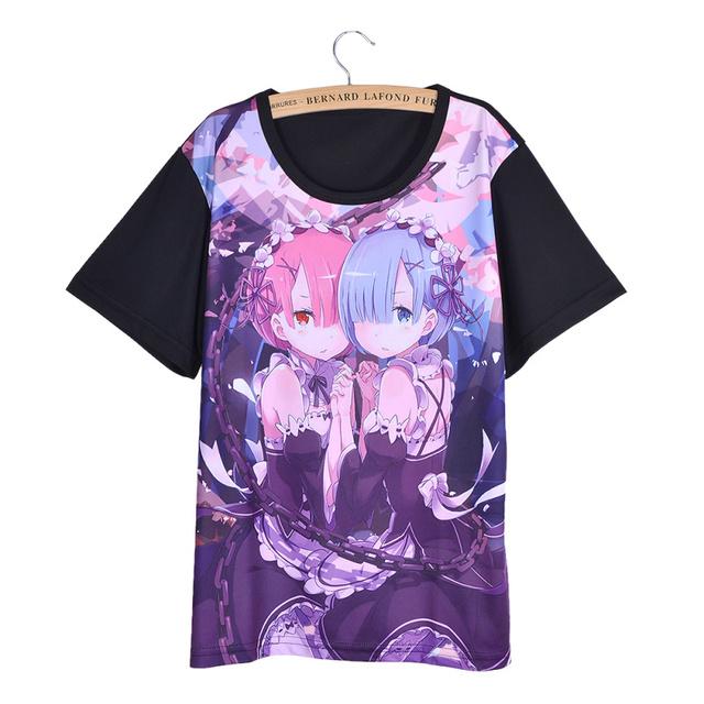 Caliente de Japón Del Anime Re Cero Isekai Kara Hajimeru Seikatsu Cosplay Mujeres Camiseta de Manga Corta Casual Loose T Shirt Tee Top