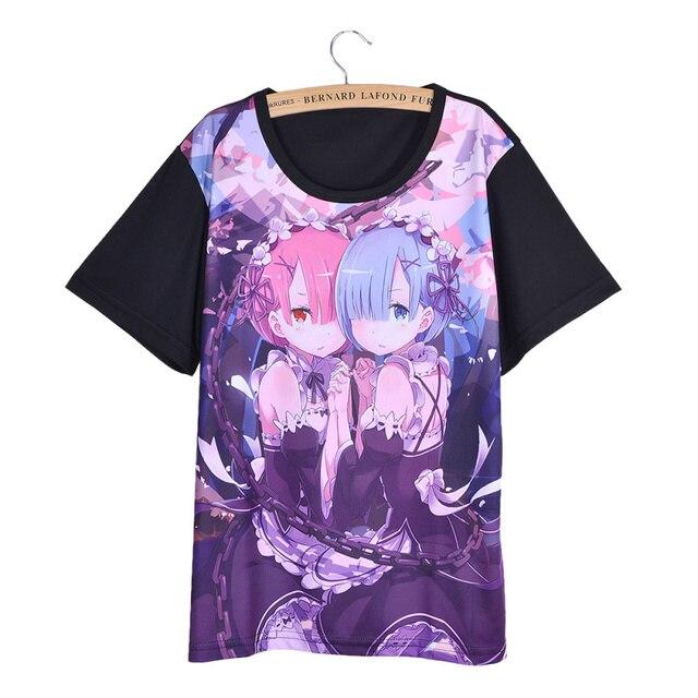 Hot Japan Anime Re Zero Kara Hajimeru Isekai Seikatsu Cosplay Women T-shirt Short Sleeve Casual Loose T Shirt Tee Top