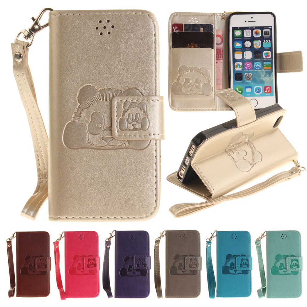 For Asus Zenfone 2 ZE551ML Case Luxury 3D Embossed Cute Panda Leather Phone Cases with Lanyard for Asus ZE551ML 5.5″ Cover Capa