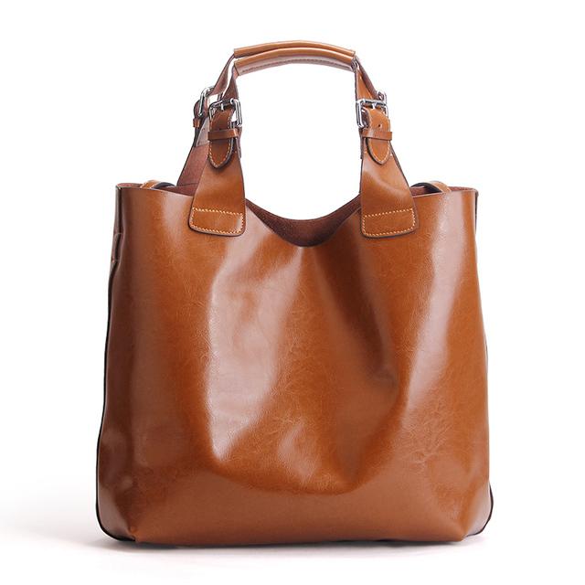 Vintage Solid High Quality Genuine Leather Women Handbag Ladies Tote Shopper Shoulder Messenger Bags Famous Brand Designer Purse