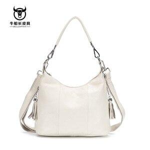 Image 4 - Bullcaptain 2020 nova bolsa feminina bolsas de couro genuíno das mulheres bolsa de ombro 8 polegada sacos do mensageiro para as mulheres casuais borla
