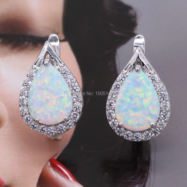 Fantastic design Jewelry white fire opal zircon 925 stamp Earrings  for Anniversary