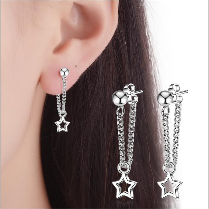 LUKENI New Fashion 925 Sterling Silver Earrings For Girl Christmas Party Accessories Female Trendy Star Stud Earrings Jewelry