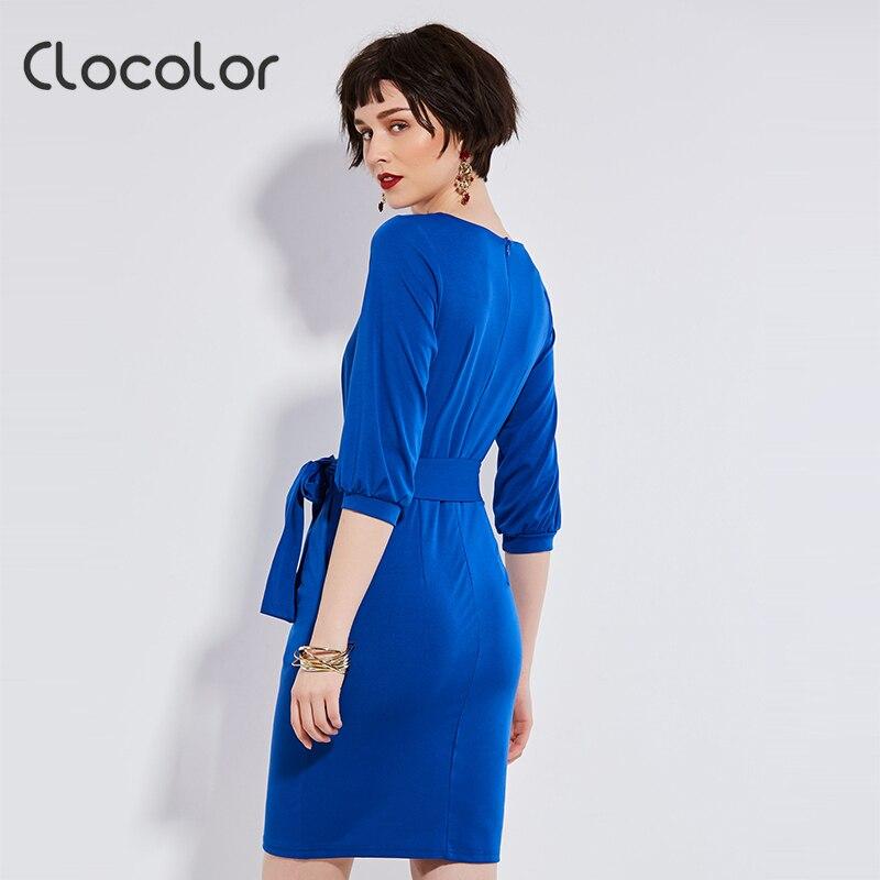 b30f5e1ba7 Vestidos casuales de otoño para mujer 2018 vestidos de color azul sólido  primavera suelto Camel cuello redondo vestidos casuales con fajas S XL en  Vestidos ...