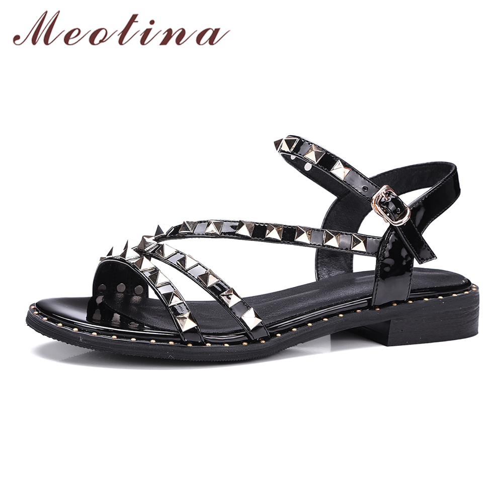 Black leather sandals low heel - Meotina Shoes Women Sandals Brand Design Genuine Leather Shoes Rivets Punk Gladiator Sandals Low Heel Sandals
