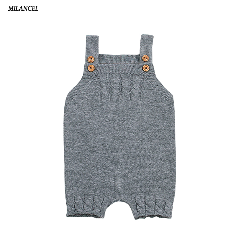 MIlANCEl 2018 New Baby Clothing Solid Baby Boys   Rompers   Sleeveless Girls Jumpsuits Knitted Baby Outerwear Casual Girls Clothes