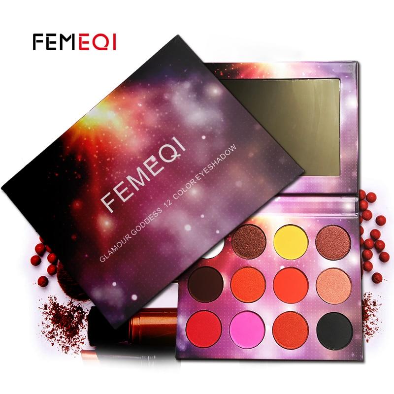 FEMEQI Charmoso 12 Cores Shimmer Da Paleta Da Sombra Make up Paleta Fosco Long-lasting Pigmentadas shimmer Glitter Sombra Em Pó