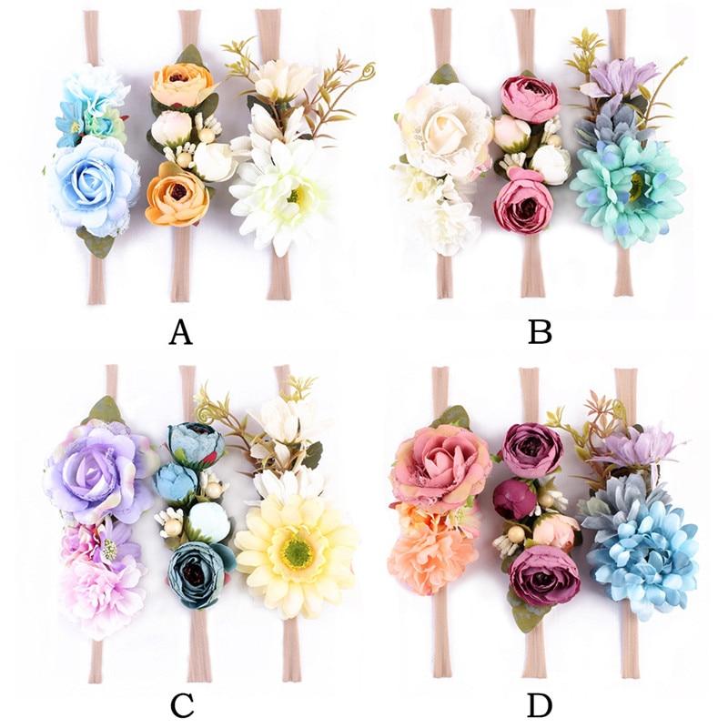Baby Girls Headband Nylon Elastic Big Flower Kids Hair Accessory 3pcs Artificial Flower Holiday Children Headband