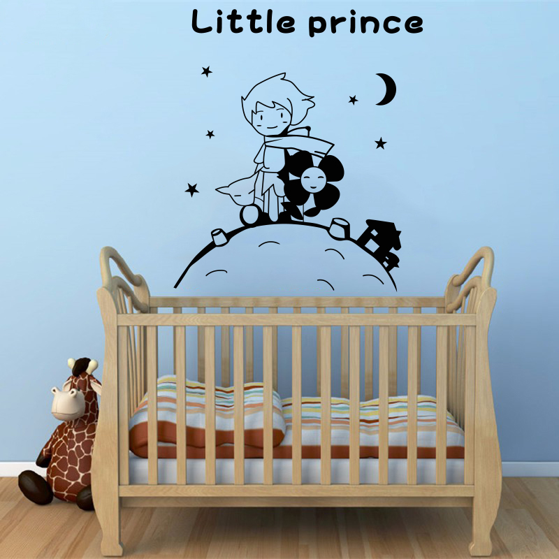 Free shipping cute creative kids rooms little prince and the fox PVC Vinyl Removable wall stickers home decoration #T179