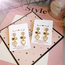 Korea Handmade Rhinestone Heart Imitation Pearl Women Drop Earrings Dangle Fashion Jewelry Accessories-JQD5