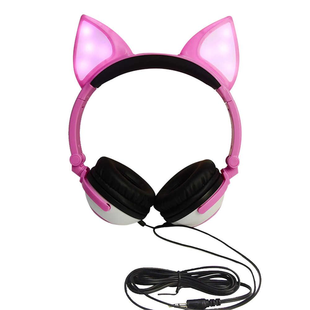 LX-X109 หูฟังแบบพับเก็บได้ LED กระพริบไฟสำหรับแล็ปท็อป 3.5 มม. AUX Over - ear Fox หูฟังสำหรับเด็กหูฟัง