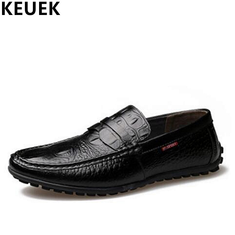 Spring Autumn Men Flats Genuine leather Breathable Loafers Fashion Slip-On Boat shoes British style Male Driving shoes 3A men s crocodile emboss leather penny loafers slip on boat shoes breathable driving shoes business casual velet loafers shoes men