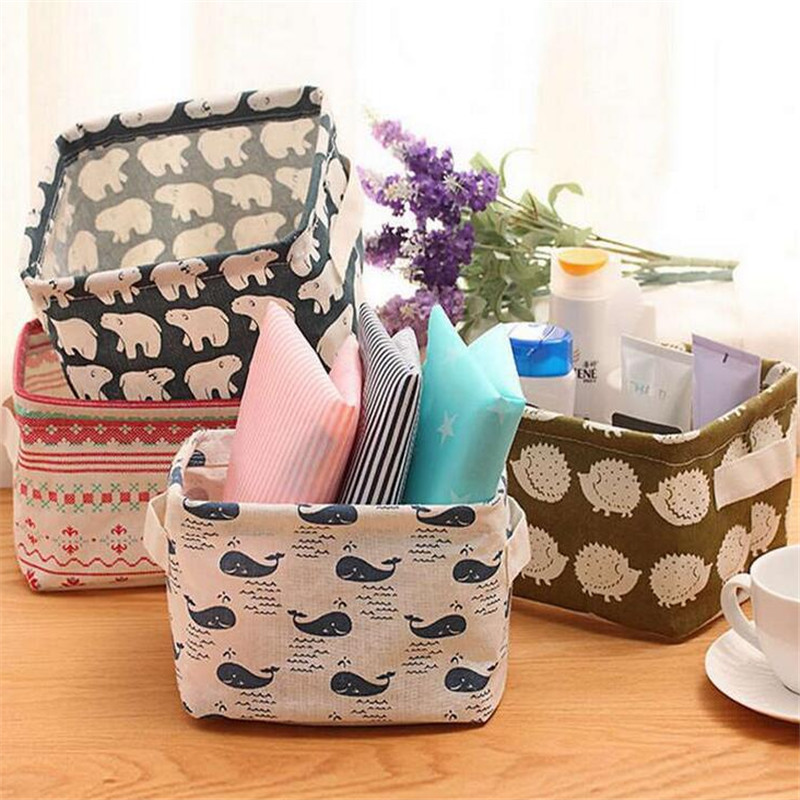1Pcs Cute Printing Cotton Linen Desktop Storage Bag Organizer Sundries Storage Box Cabinet Underwear Storage Basket
