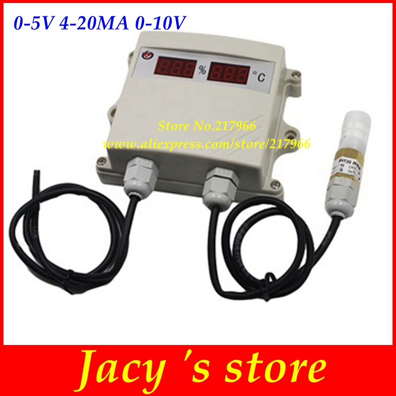 Temperature and humidity transmitter sensor 4 20mA  0 10V 0 5V output digital led display moisture meter waterproof probe-in Temperature Instruments from Tools    1