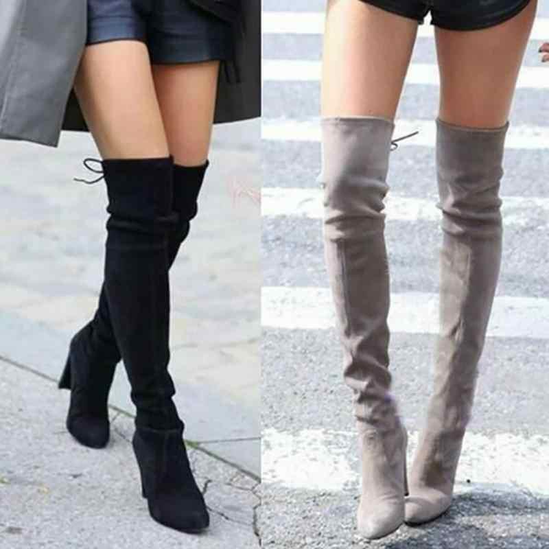 Faux daim femmes minces bottes Sexy sur le genou femmes bottes mode hiver cuissardes chaussures femmes talons hauts grande taille 44