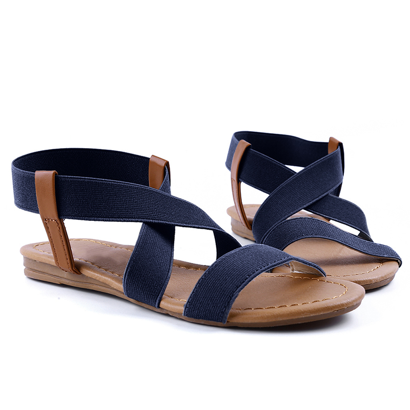 2019 Summer Beach Roman Sandal Ladies Open Toe Flat Sandal #30,Blue,41,United States