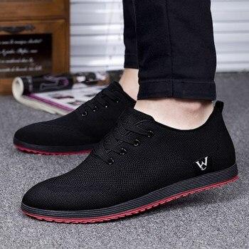 Nowa Wiosna/Lato Mężczyźni Buty Oddychające Oczek Przypadkowi Buty Mężczyźni Canvas Shoes Zapatillas Hombre 2018 Moda Niskie Lace- up Płaskie Buty