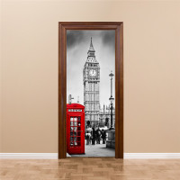 funlife British Big Ben Imitation 3D Door Sticker PVC Waterproof Wall Paper DIY Poster Self adhesive Home Decor Wall Sticker