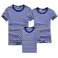 2016 Family Matching Clothes Blue Stripe Quality Family Clothing T Shirt Men 4xl Summer For Dad Mom Baby AF1640