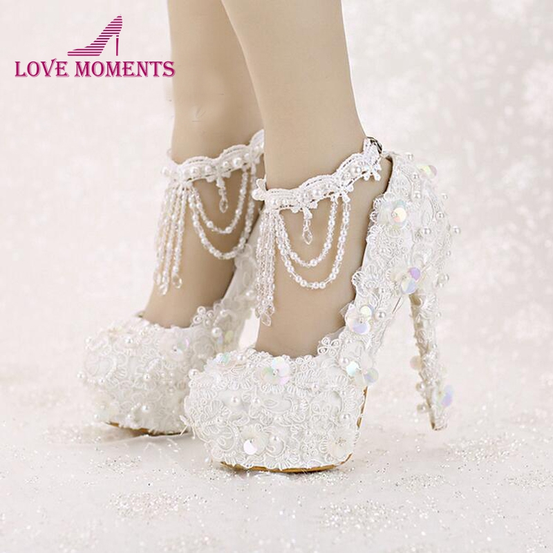 Sweet White Bride Shoes High Heel Platform Lace Strap Dress Shoes Sequined Tassels Wedding Shoes with Beautiful Ankle Straps
