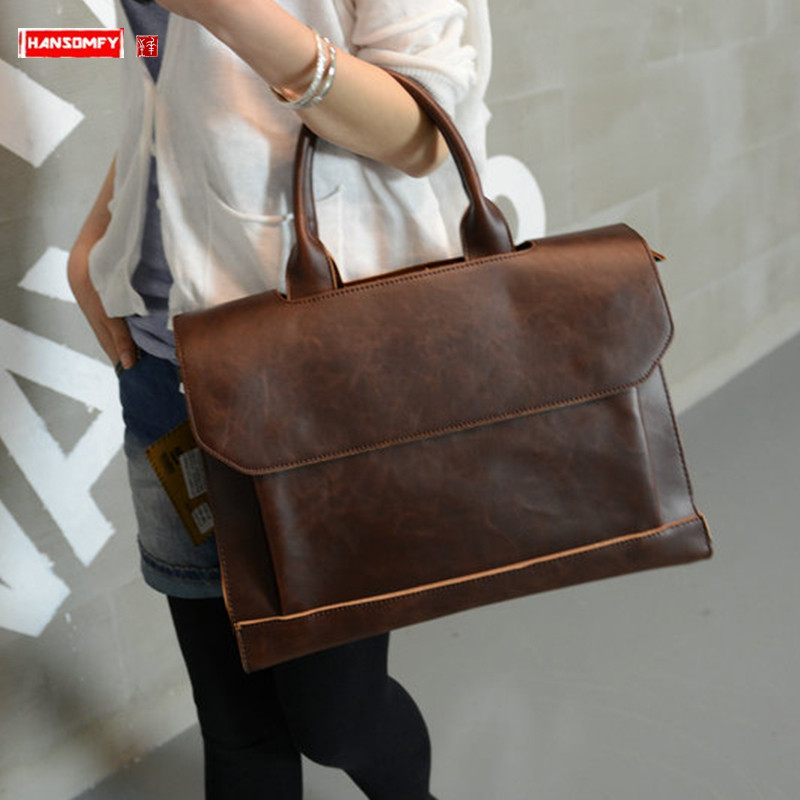 New Women Handbags Ladies Briefcase Computer Bag Female Crazy Horse Leather Shoulder Messenger Bags 14 Inch Laptop Briefcases