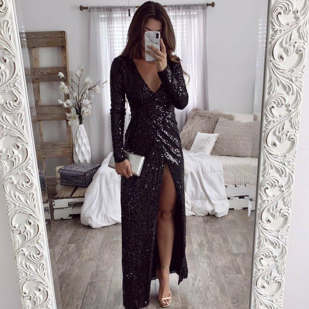 Grande taille femmes noir paillettes haute fente profonde col en V soirée fête Maxi robe de bal 2019